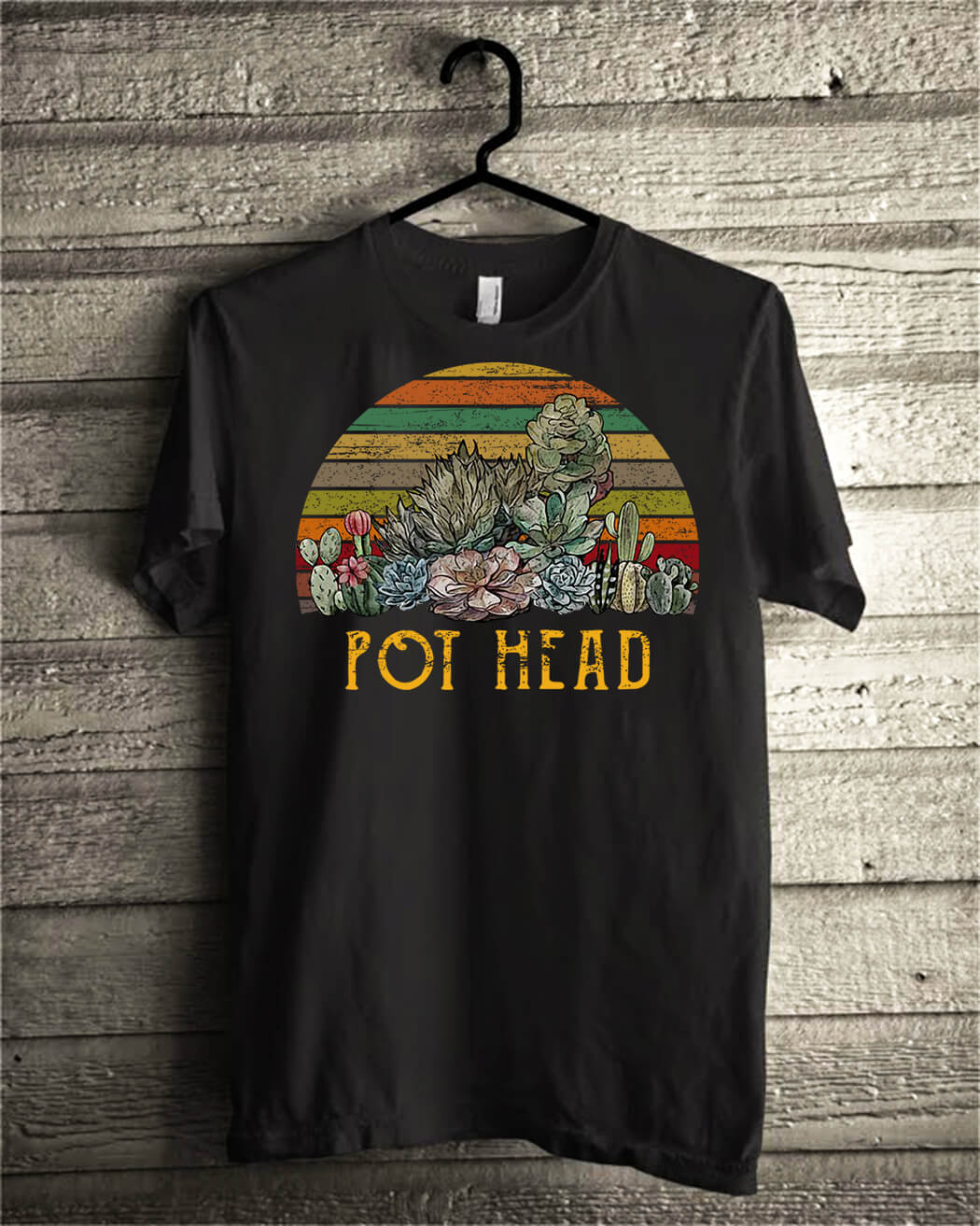 Succulent plants pot head vintage shirt