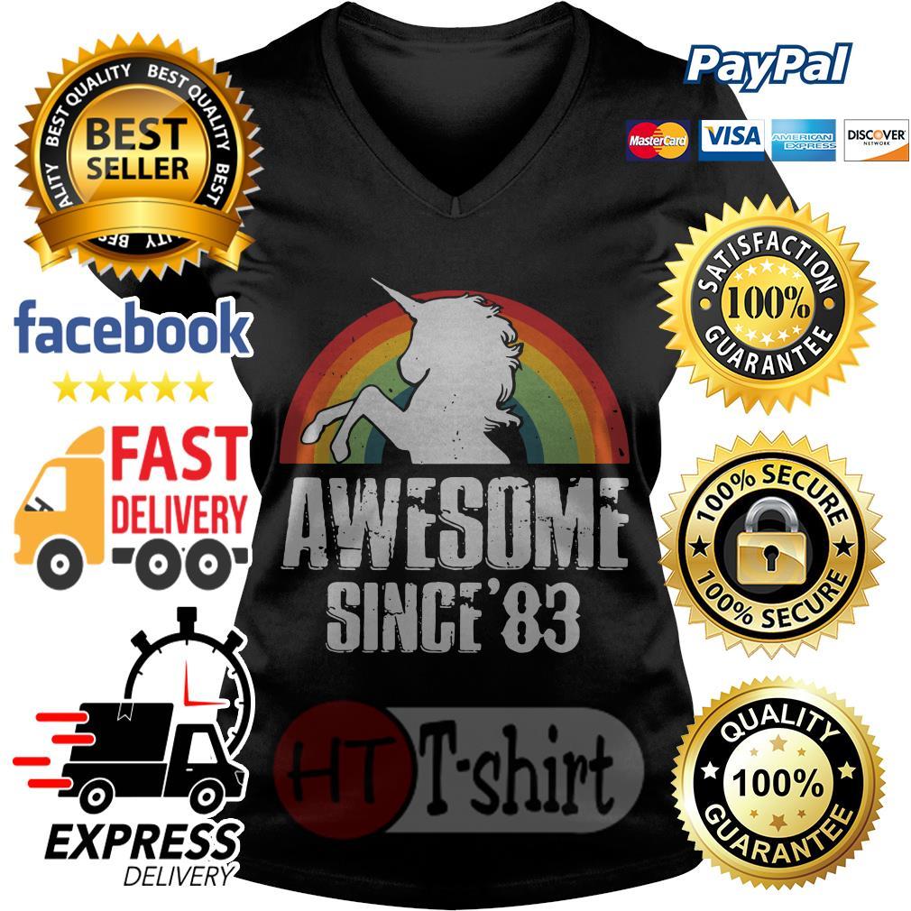 Unicorn awesome since'83 retro V-neck t-shirt