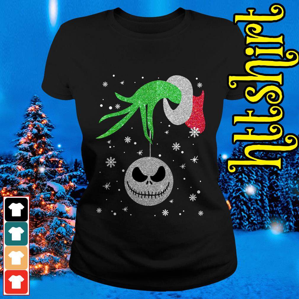 Grinch hand holding Jack Skellington Christmas ladies tee