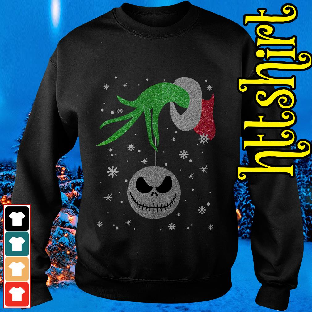 Grinch hand holding Jack Skellington Christmas Sweater