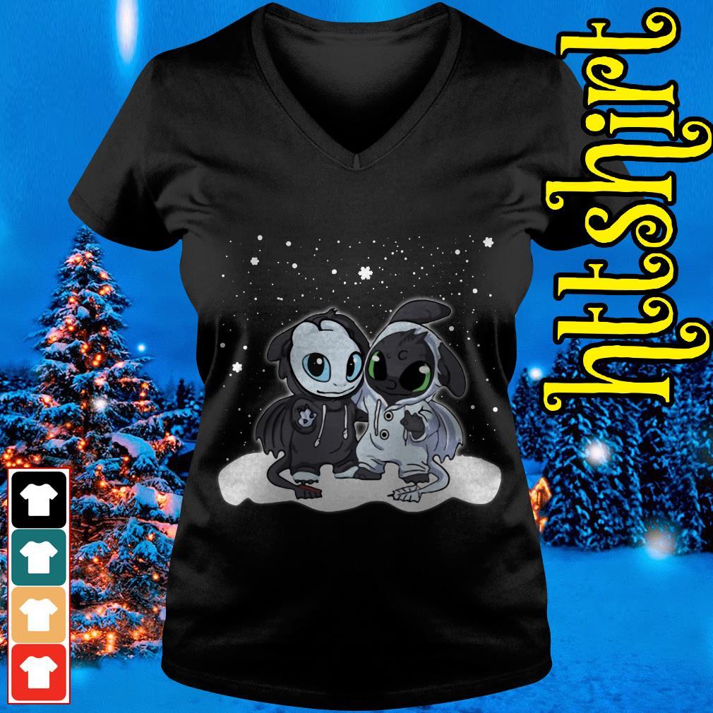 Night Fury and Light Fury Christmas V-neck t-shirt
