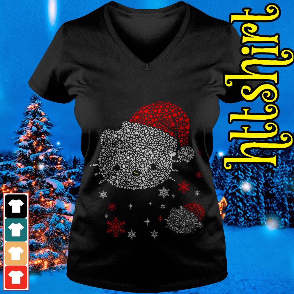 Rhinestone Hello Kitty Christmas V-neck t-shirt