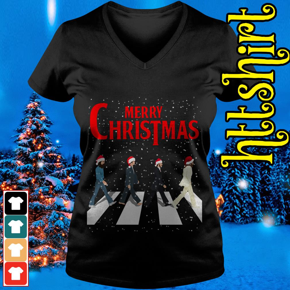 The Beatles Abbey Road Merry Christmas V-neck t-shirt