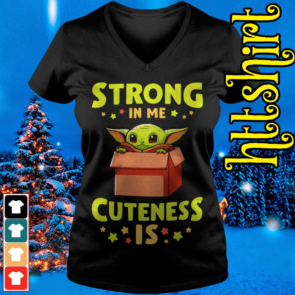 Official Baby Yoda strong in me cuteness is V-neck t-shirt