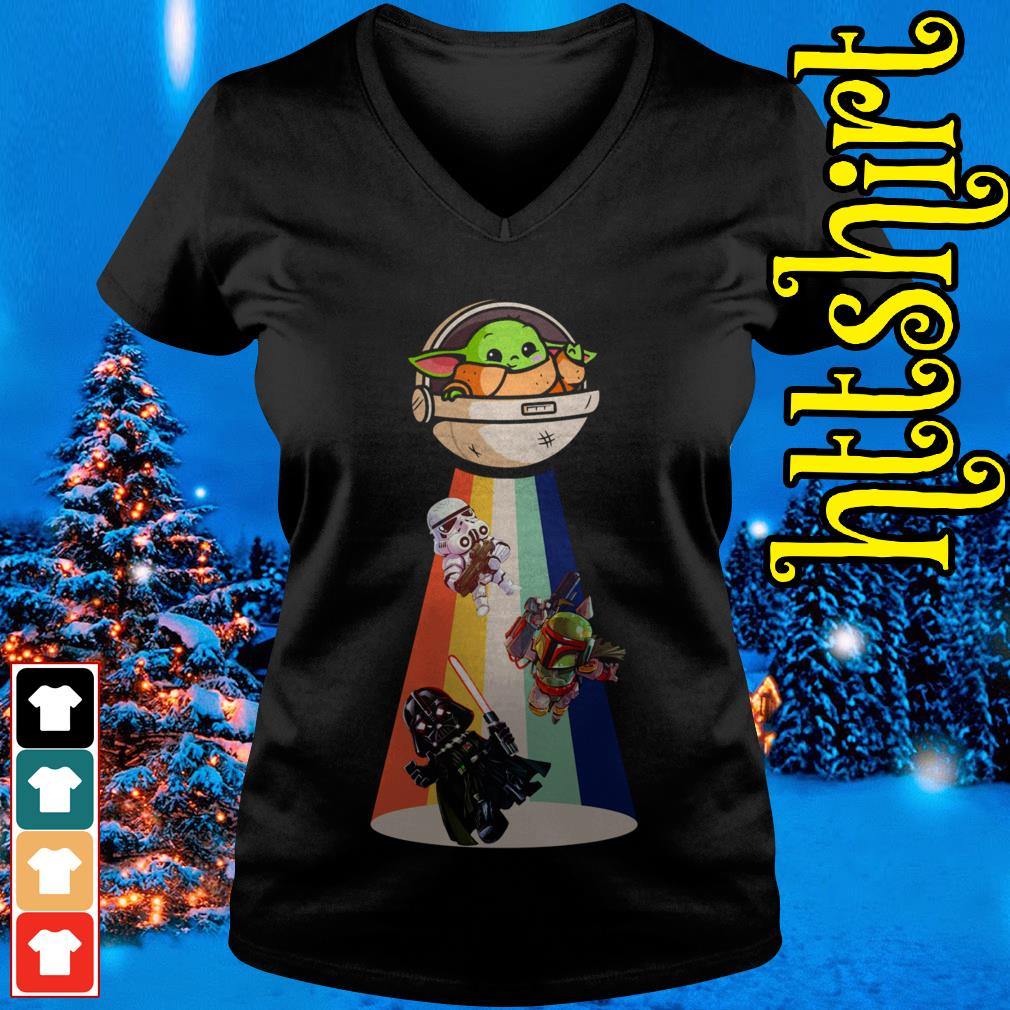Star Wars Darth Vader Baby Yoda Ufo V-neck t-shirt