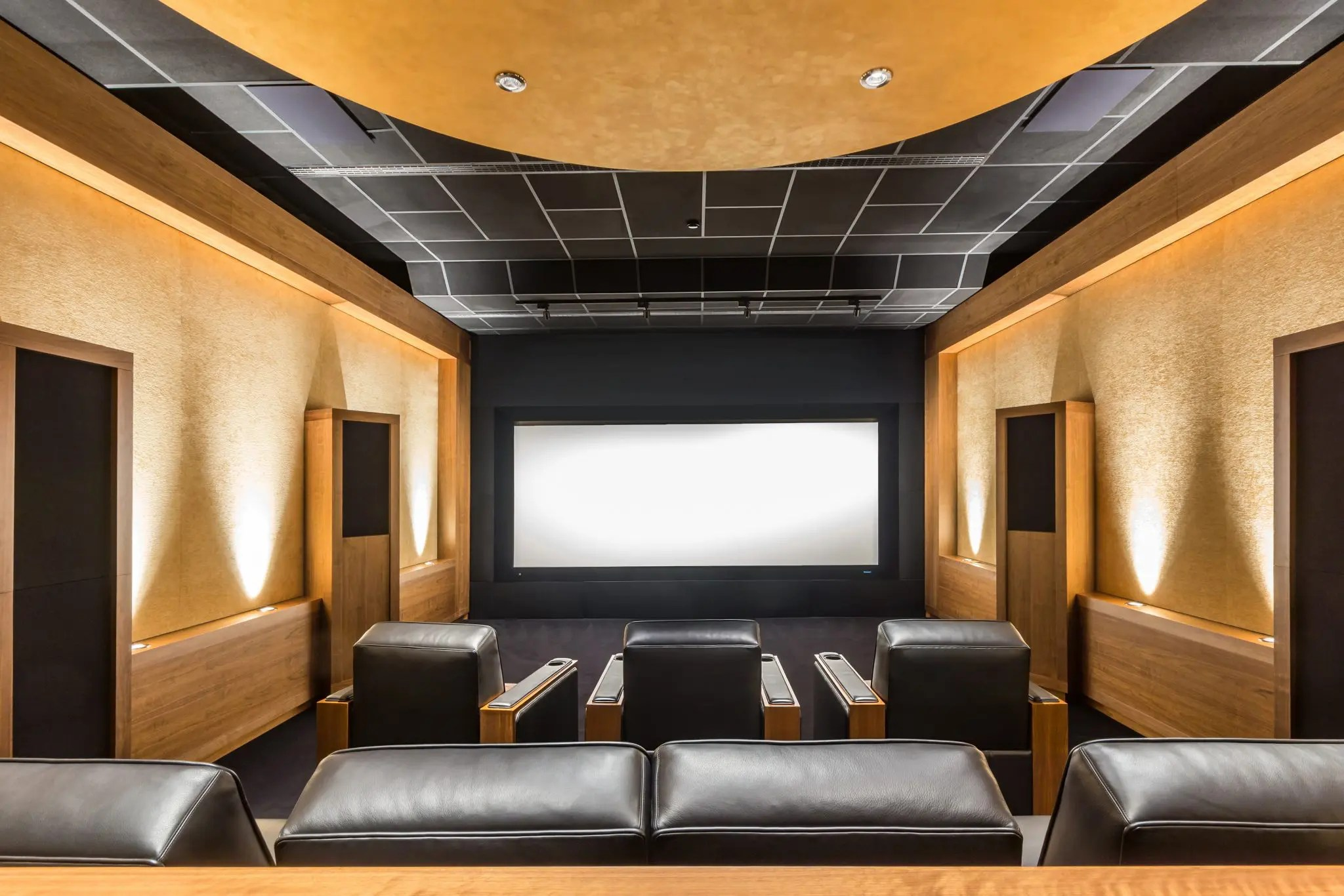 Stunning stylish privat theater. Luxury Home Cinema Room. Private Screening Room