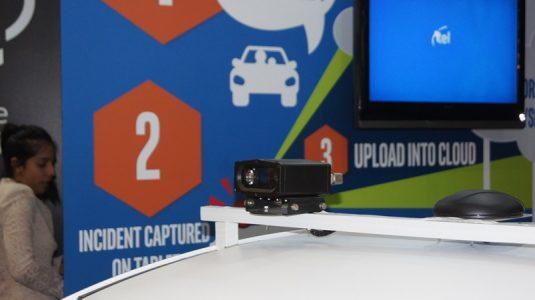 This is the 3D camera that is able to scan license plates which the onboard PC is able to compare to a database.