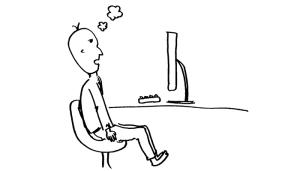一日中パソコンの前に座っている人 ※注 イメージです