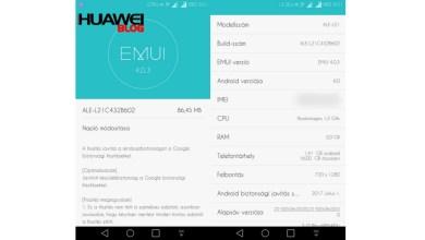Huawei P8 Lite B602 frissítés