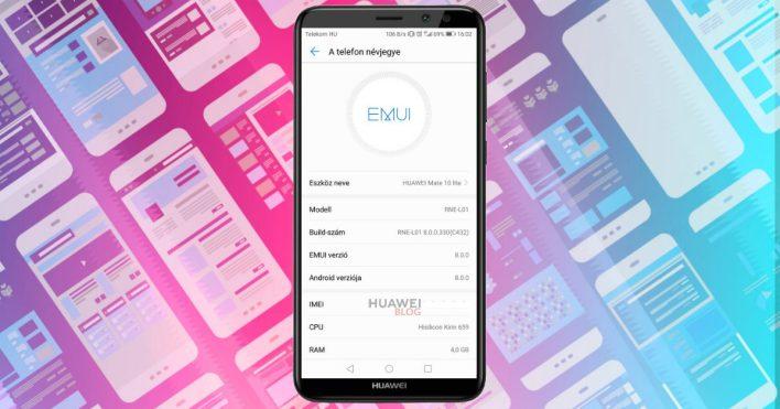 Huawei Mate 10 Lite Android 8.0 Oreo frissítés