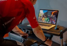 A rider using the Zwift online riding platform.