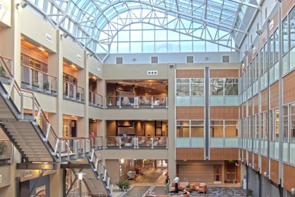Atrium in Wake Forest Biotech Place at Innovation Quarter