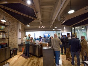 Every Venture Café includes free wine and beer (with a three drink limit).