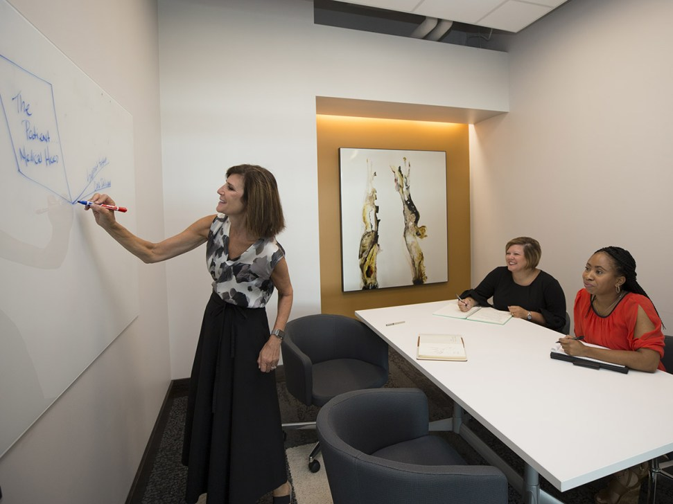 Jennifer Byrne works with Kevonna Hayes and Amanda Wright