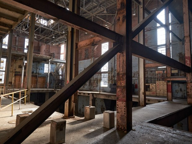 The previous interior of Bailey Power Plant was a web of criss-crossing steel beams.