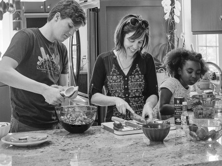 Claire, cooking with her children Finn and Ruby
