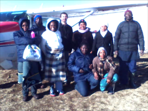 MAF Pilot, Justin Honaker and the some of the Mamamaneng community, Lesotho, Africa