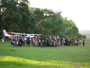 Sarah and her family are greeted by villagers upon their arrival in Kikongo.  Photo by Marilyn Gorenflo.