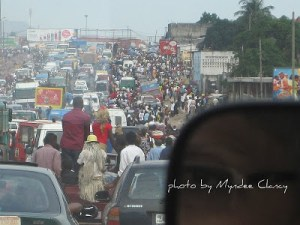 Kinshasa traffic in the West Democratic Republic of the Congo