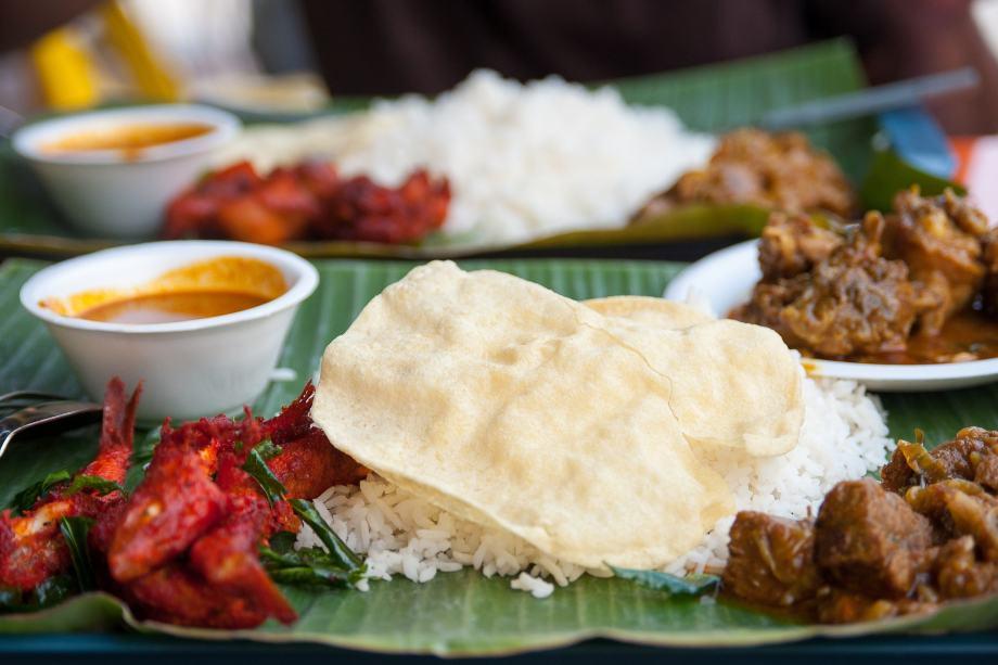 banana leaf rice close up - halal eateries Malaysia