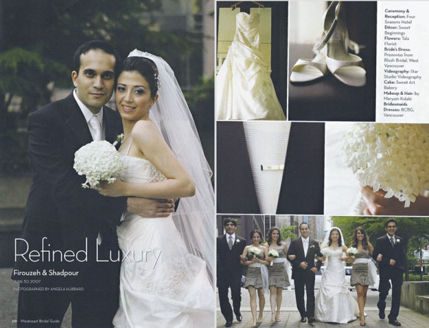 Angela Hubbard photography published in wedding directory Vancouver
