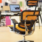 Ergohuman Orange Mesh Task Chair With Laptop Holder And