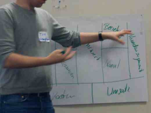 Bild von Tim Schikora in Action beim Erklären, wie Business Model Generation funktioniert