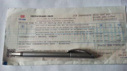 Bild von meinem Deutschlandpass der DB für 2013