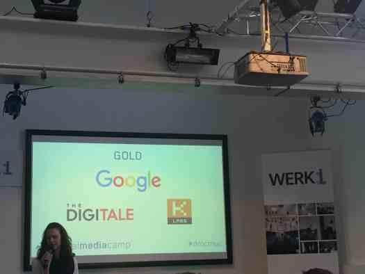 Die Goldsponsoren vorgestellt von Lina Timm afu dem Digitalmediacamp im Februar 2016