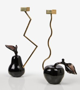 bougeoirs pomme poire obsidienne