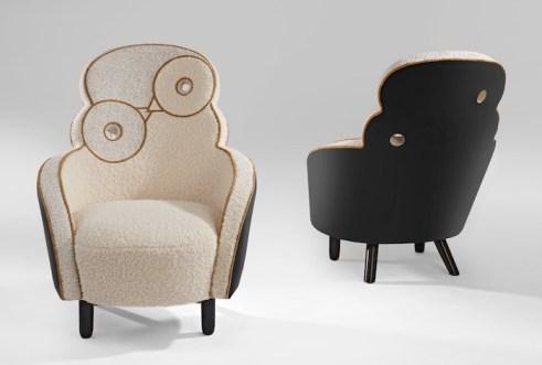 fauteuil maxou laine blanche dos métal laqué noir