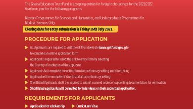 Photo of Ghana Education Trust Fund Foreign 2021/2022 Scholarships