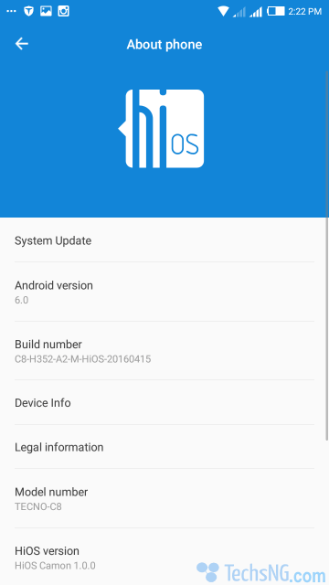 tecno camon c8 running android 6.0 marshmallow