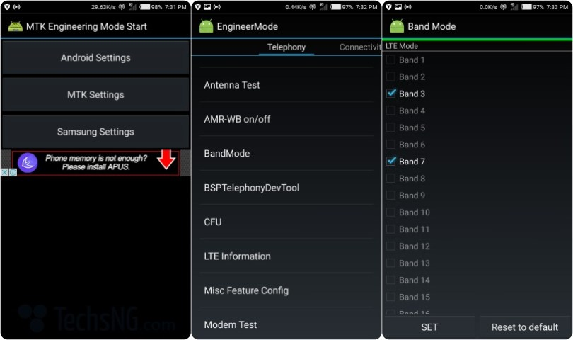 4G bands an android phone supports