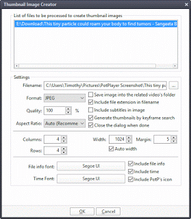 take screenshot on potplayer using capture thumbnail image method