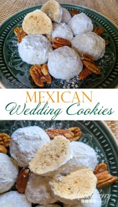 Mexican Wedding Cookies on a plate with pecans.