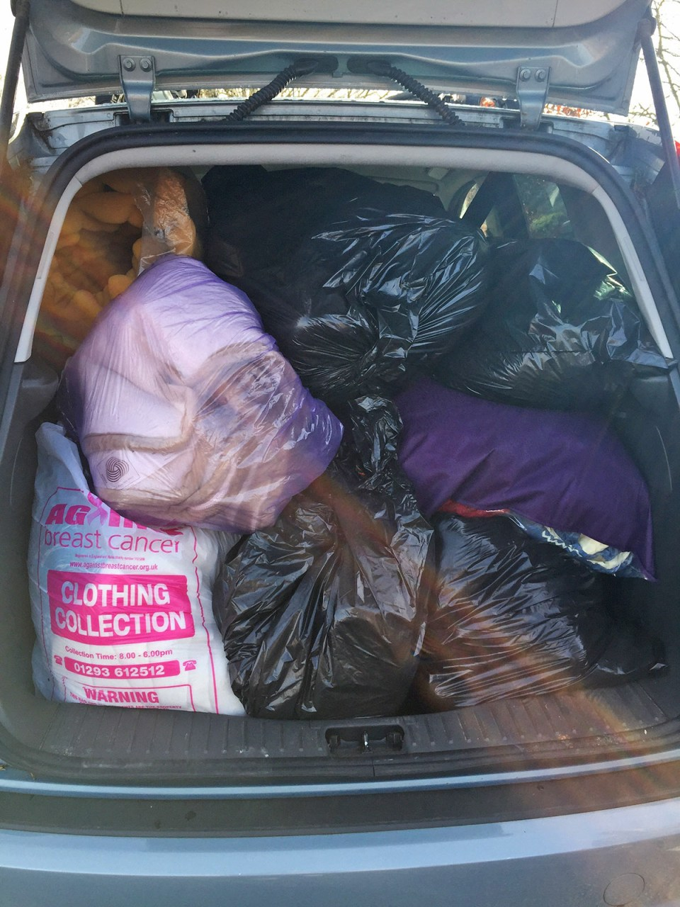 Full car boot of items in support of Nottingham Blanket Drive for Refugees