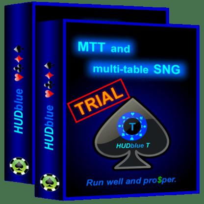 HUDblue T, MTT HUD and HUDblue CS, 6-Max Cash HUD - Trial - box illustration.