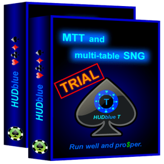 HUDblue T, MTT HUD and HUDblue CS, 6-Max Cash HUD - Trial - box illustration.