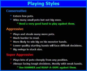 Outline of Hold'em playing styles and tactics. i.e. Conservative, Aggressive, Super Aggressive.