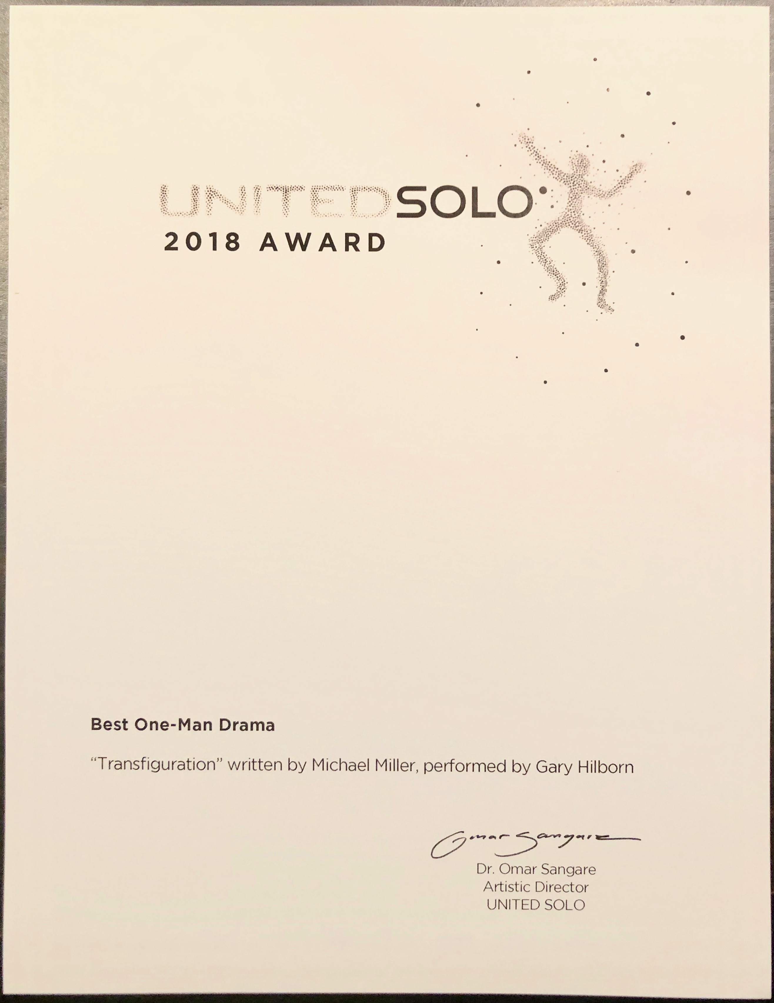 "Actor Gary Hilborn and Playwright Michael Miller received the Award for Best One-Man Drama at the United Solo Closing Gala for ""Transfiguration."""