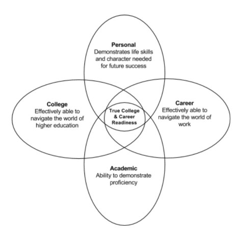 Ven style diagram that identifies personal, college, academic, and career areas of focus.