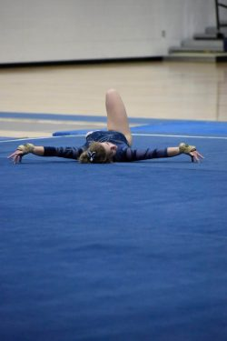 Hudson High School Gymnastics team member during floor exercise at 1-4-19 meet.
