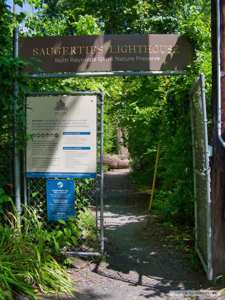 Entrance to the Saugerties Lighthouse and the Ruth Reynolds Glunt Nature Preserve   Photo by Kristina Quinones aka Aspire to Wander