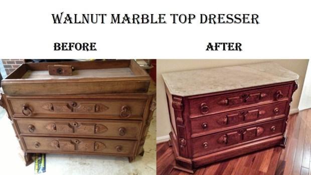 Walnut Marble Top Dresser
