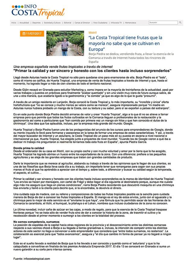 reportaje sobre Huerta Tropical en InfoCostaTropical