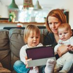 Women with Kids with tablet