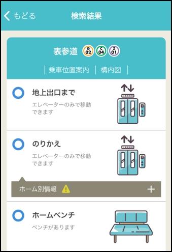 ベビーメトロのアプリで、駅構内のエレベーターやベンチの有無がひと目でわかる
