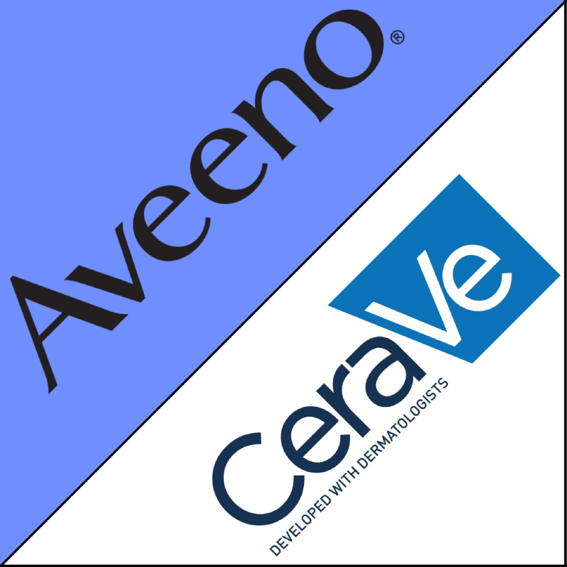 Square split in half, one half with Aveeno branding and blue background, other half with CeraVe branding and White background