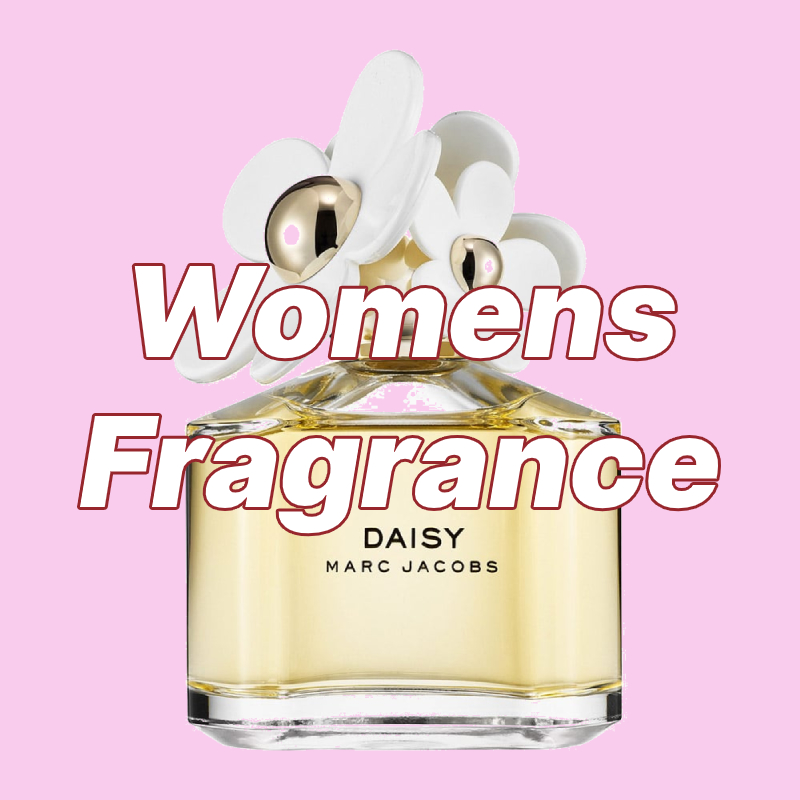 Marc Jacobs daisy perfume bottle with pink background and Womens Fragrance overlayed in text